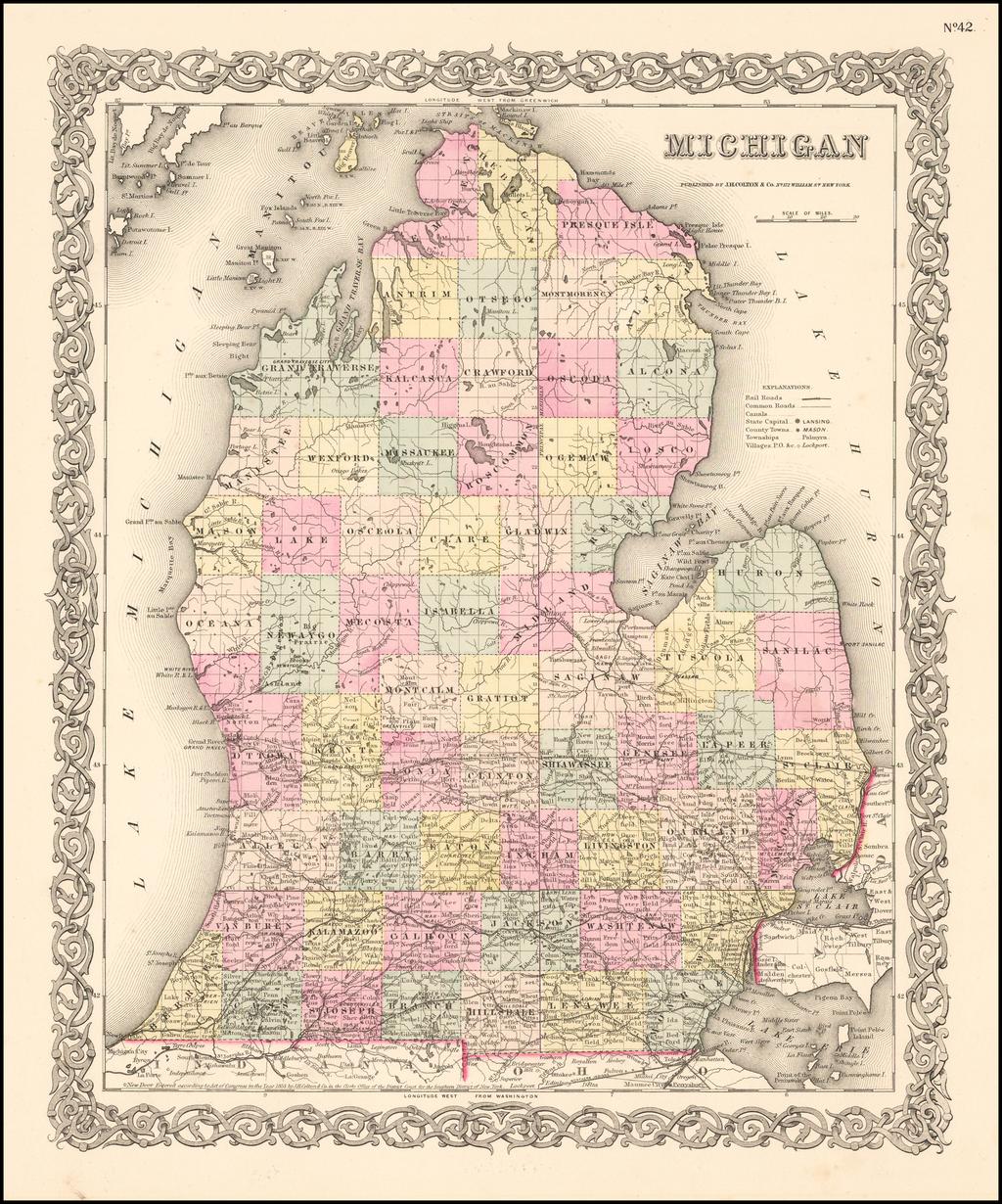 Michigan By Joseph Hutchins Colton