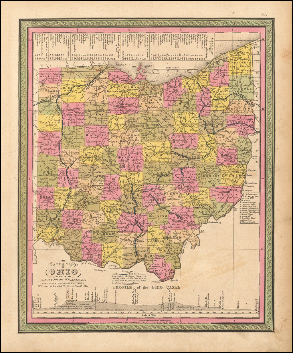 A New Map of Ohio with its Canals, Roads & Distances By Samuel Augustus Mitchell
