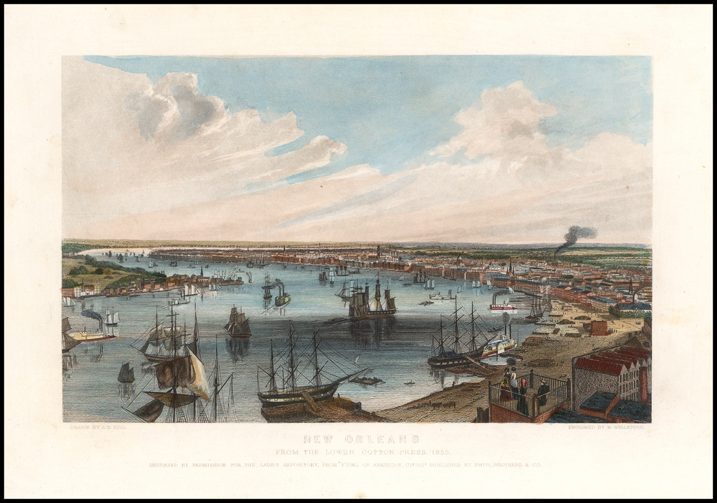 New Orleans From the Lower Cotton Press.  1852 By Ladies Repository