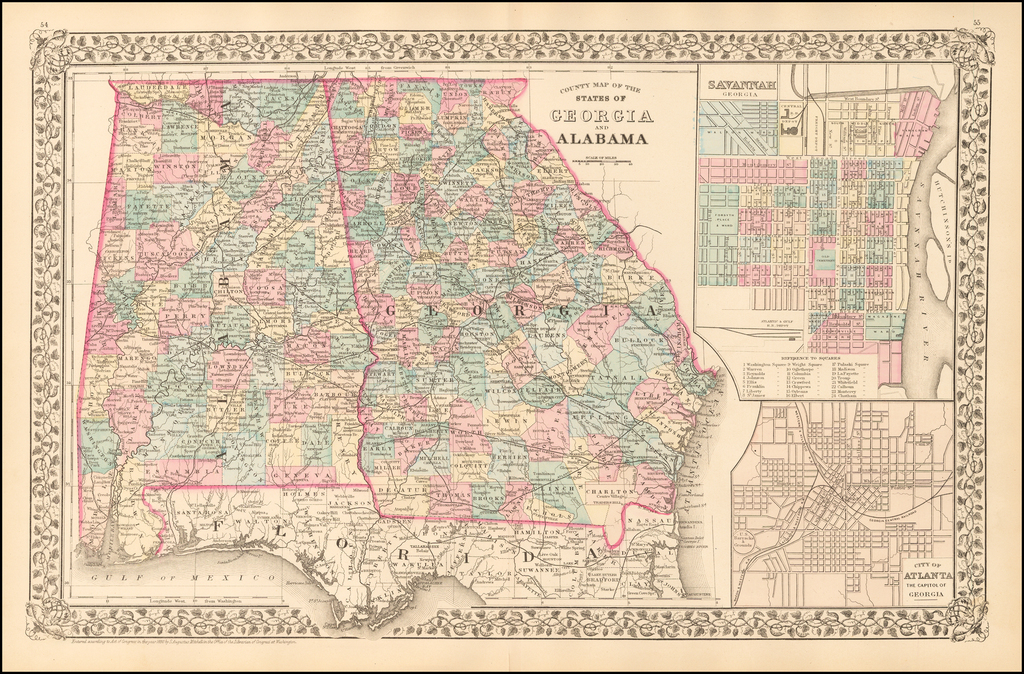 County Map of the States of Georgia and Alabama [Insets of Atlanta and Savannah] By Samuel Augustus Mitchell Jr.