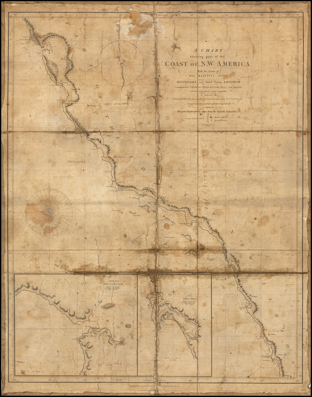(Used During The California Gold Rush)  A Chart Shewing Part of the Coast of N.W. America, with the Tracks of His Majesty's Sloop Discovery and Armed Tender Chatham Companded by George Vancouver Esqr . . . [San Francisco to Ensenada, ec.] (extensive annotat By Capt. George Vancouver