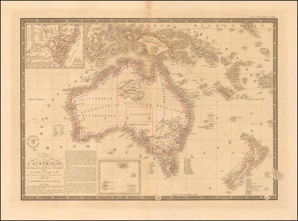 Carte De L'Australie, Partie Sud-Oest De La Oceanie... 1826... Revue en 1854. By Alexandre Emile Lapie