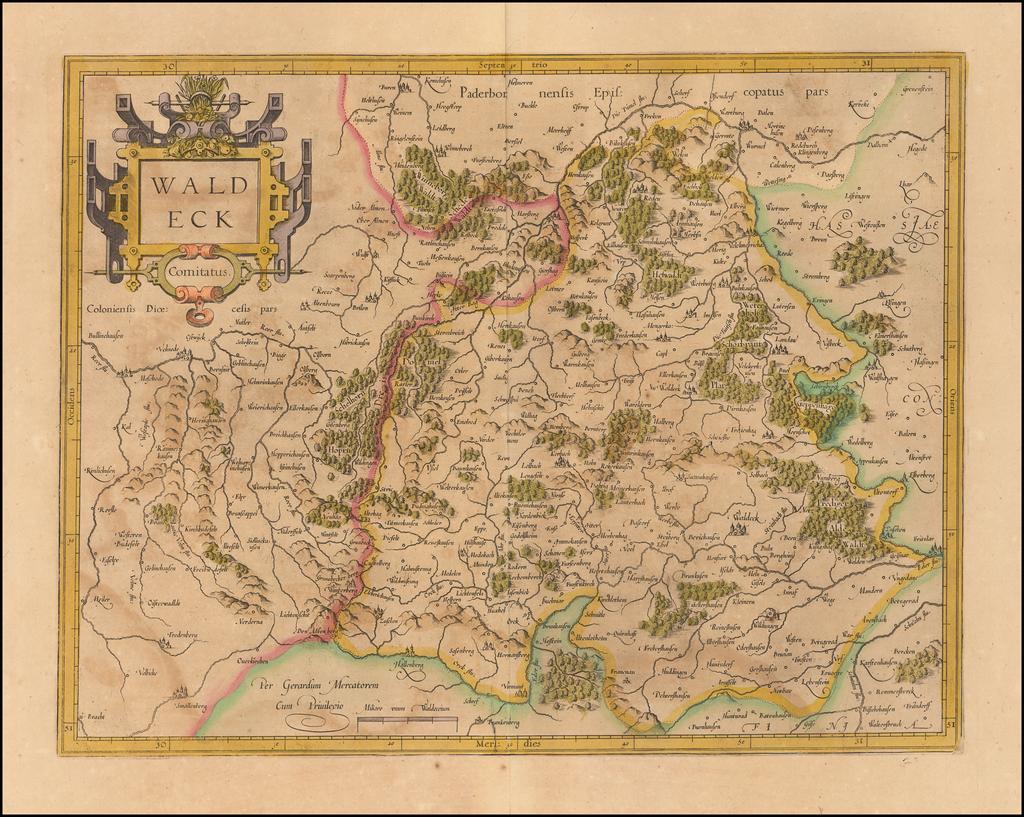 Waldeck Comitatus By  Gerard Mercator