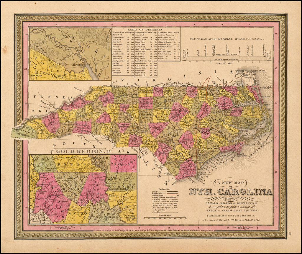 A New Map Of Nth. Carolina with its Canals, Roads, Distances from Place to Place, along the Stage & Steam Boat Routes By Samuel Augustus Mitchell
