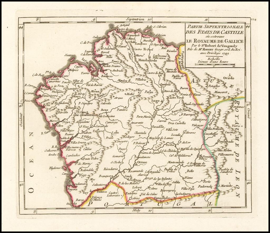 Partie Septentrionale Des Etats De Castille ou se trouve Le Royaume de Gallice . . . 1749 By Didier Robert de Vaugondy