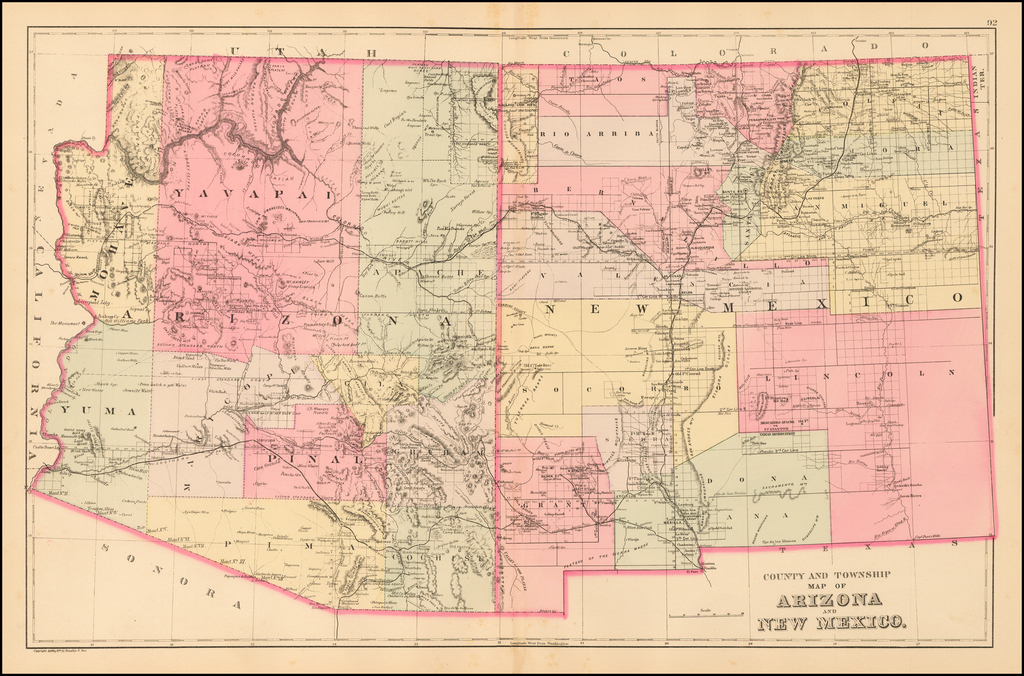 County and Township Map of Arizona and New Mexico By Samuel Augustus Mitchell Jr.