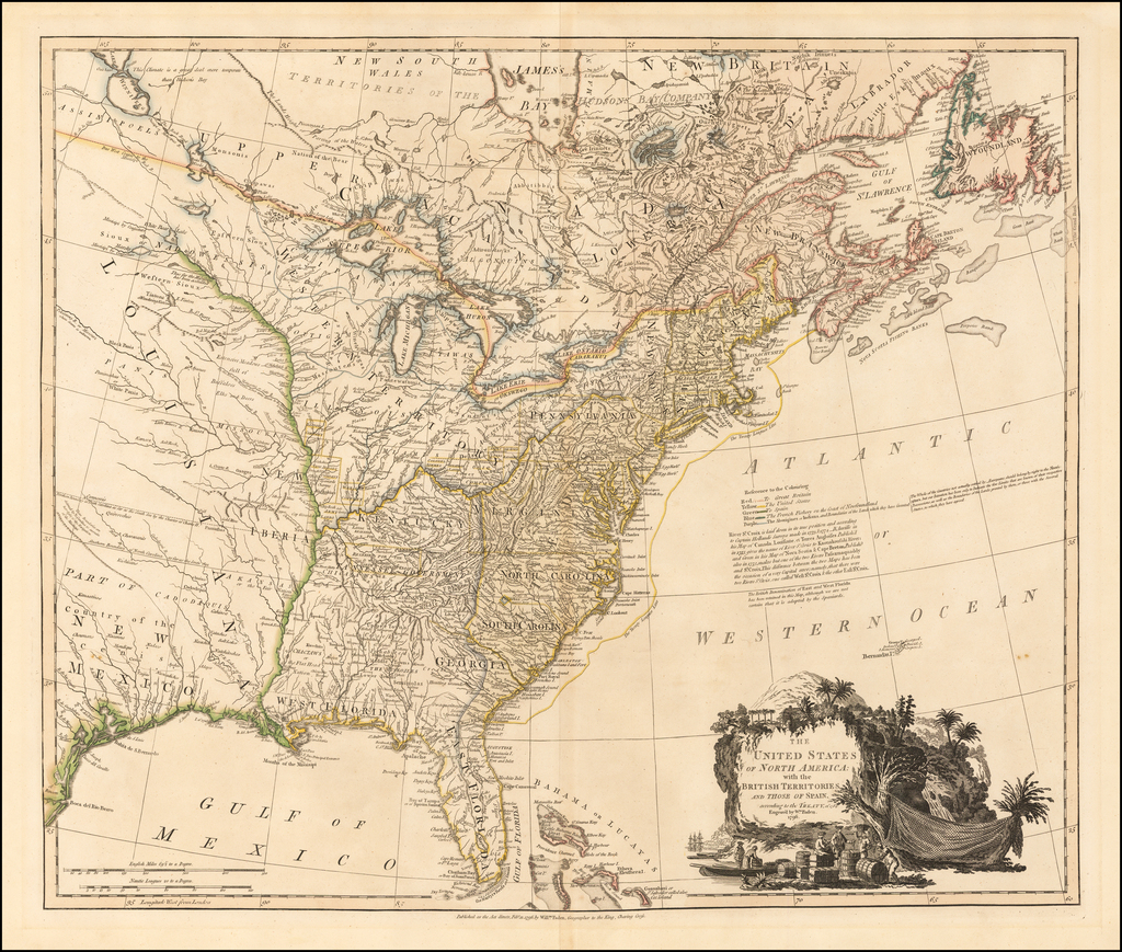 The United States of North America with the British Territories And Those of Spain, according to the Treaty of 1784 . . . 1796  [shows Franklinia!] By William Faden