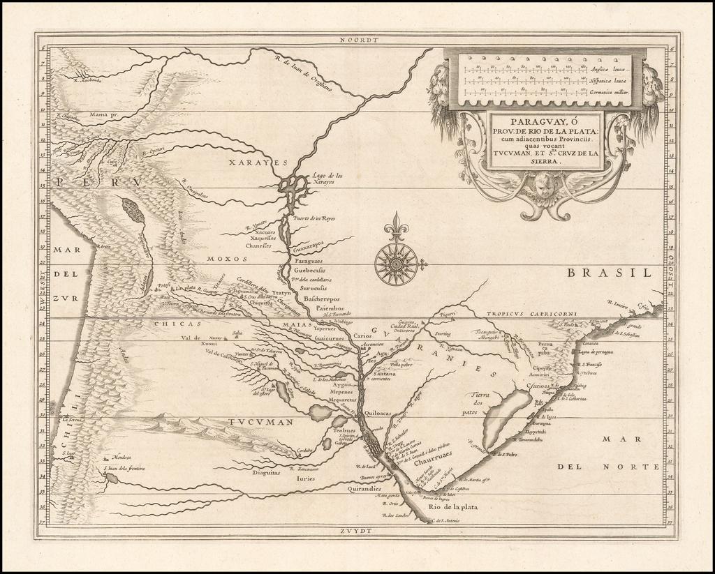 Paraguay, o Prov. De Rio De La Plata:  cum adiacentibus Provinciis quas vocant Tucuman et Sta. Cruz de la Sierra By Joannes De Laet