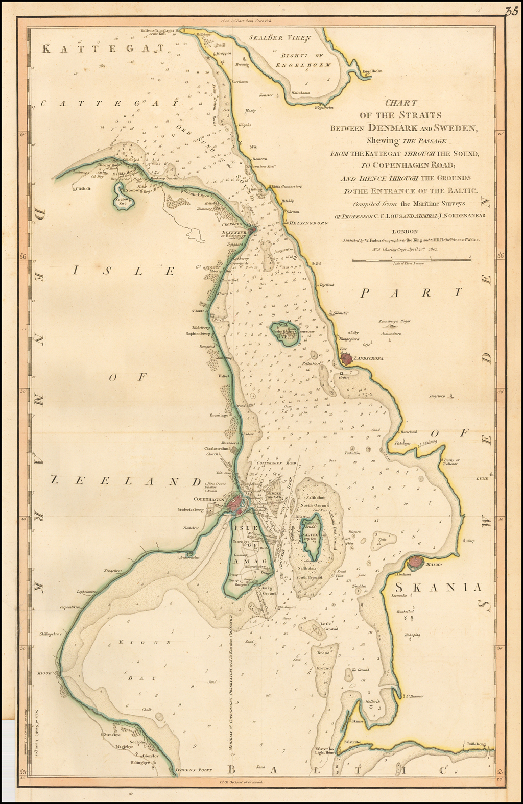 Chart of the Straits Between Denmark and Sweden, Shewing The Passage From the Kattegat Through the Sound,To Copenhagen Road . . . to the Entrance of the Baltic. Compiled from the Maritime Surveys of Professor C.C. Lous and Admiral J. Nordenakar By William Faden
