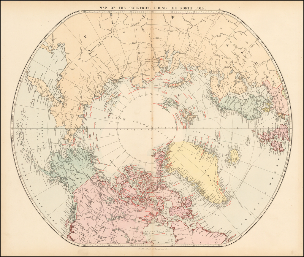 Map of the Countries Round the North Pole By Edward Stanford
