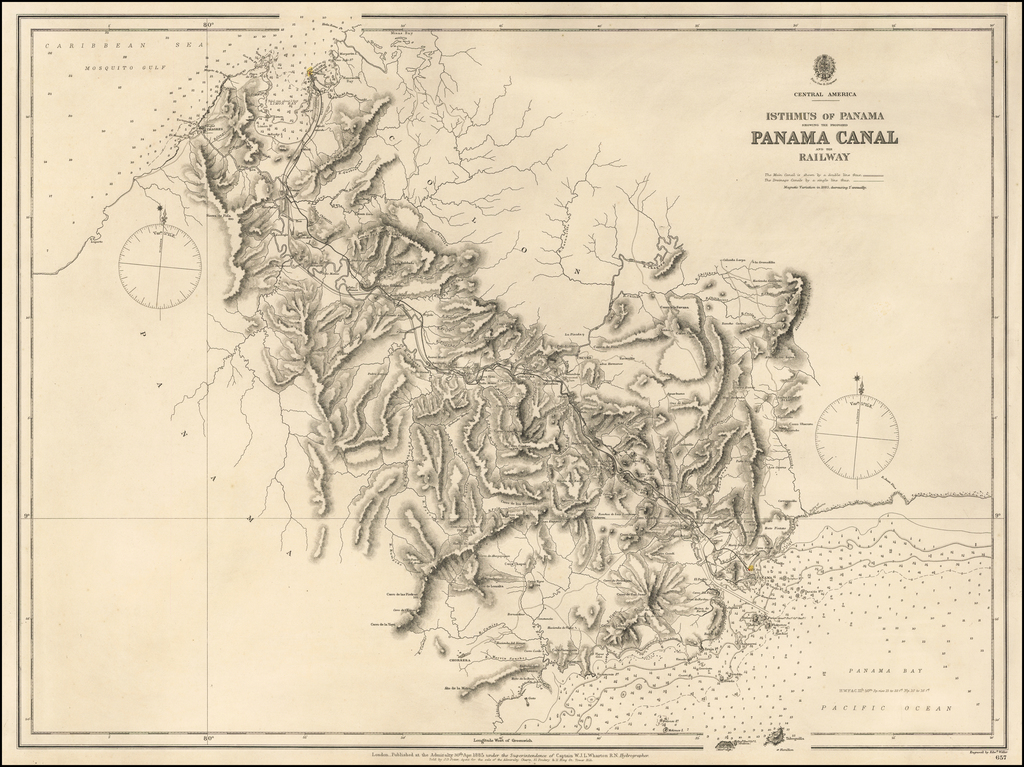 Isthmus of Panama Showing The Proposed Panama Canal and the Railway . . . 1885 By British Admiralty
