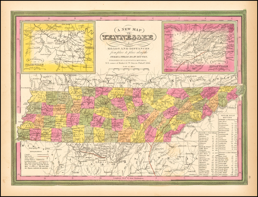 A New Map of Tennessee with its Roads & Distances from place to place along the Stage & Steam Boat Routes. By Samuel Augustus Mitchell