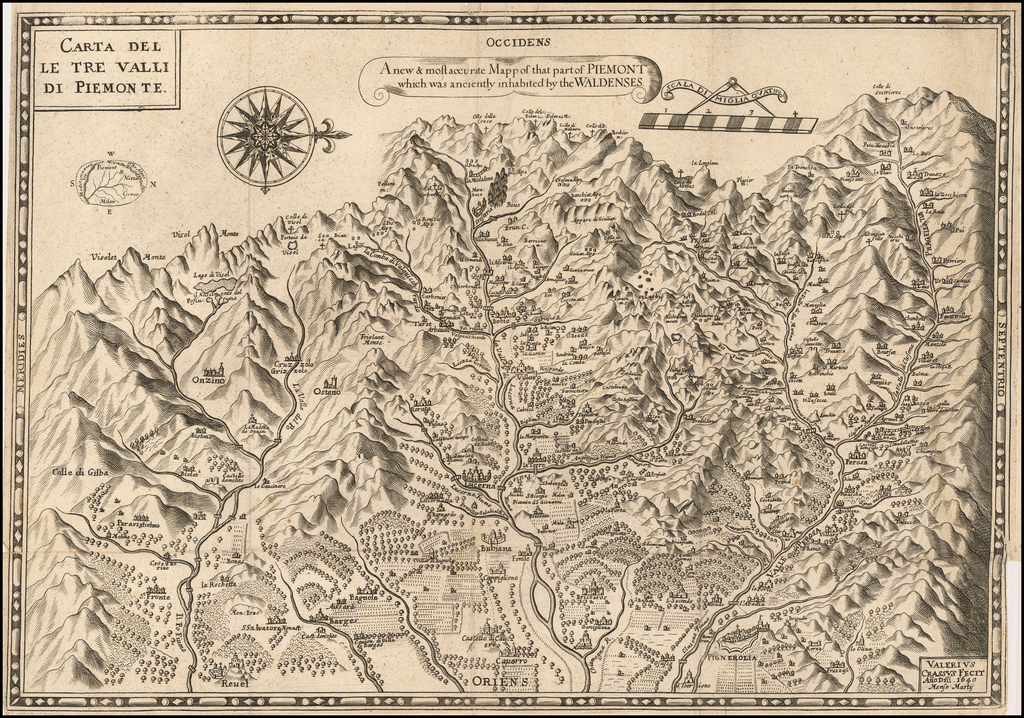 Carta delle tre valli di Piemonte /  A new & most accurate Mapp of the at part of Piemont which was anciently inhabited by the Waldenses . . . 1640 By Valerius Crassus
