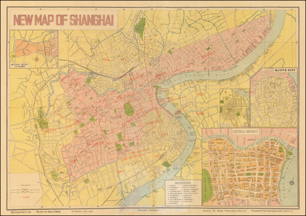 New Map of Shanghai   By Ya Kwang Geographical Institute
