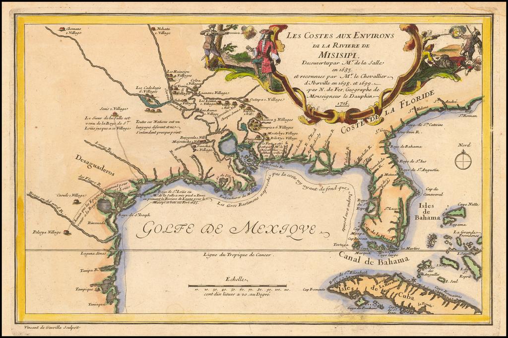 Les Costes Aux Environs De La Riviere De Misisipi Decouvertes par Mr. De la Salle en 1683, et reconnues par Mr. Le Chevallier d'Iberville en 1698 et 1699 . . . 1705 By Nicolas de Fer