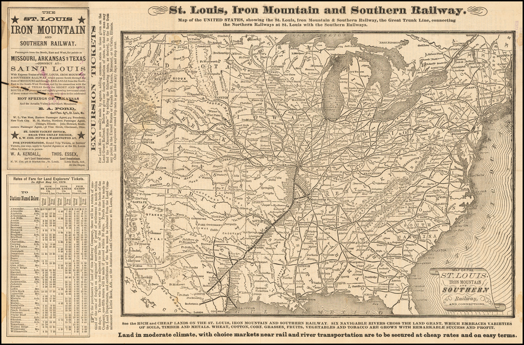 Map of the St. Louis Iron Mountain and Southern Railway and ...