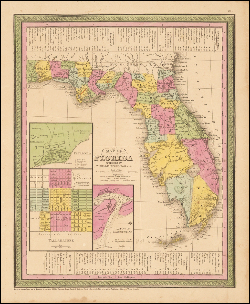Map of Florida By Thomas, Cowperthwait & Co.