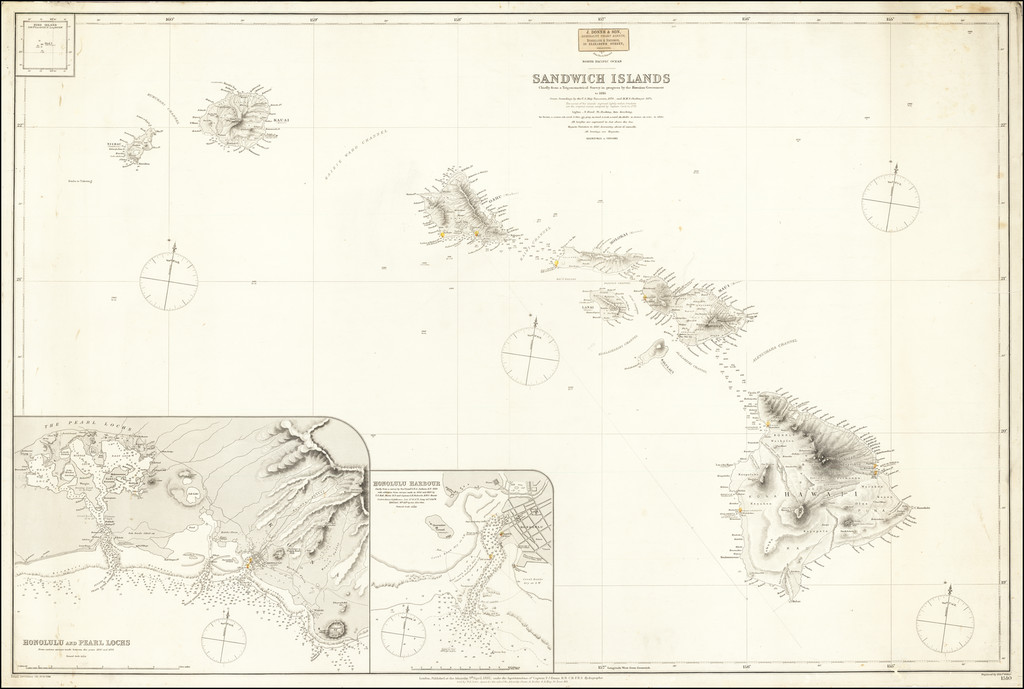 Sandwich Islands Chiefly from a Trigonometric Survey in progress by the Hawaiian Government to 1885 By British Admiralty