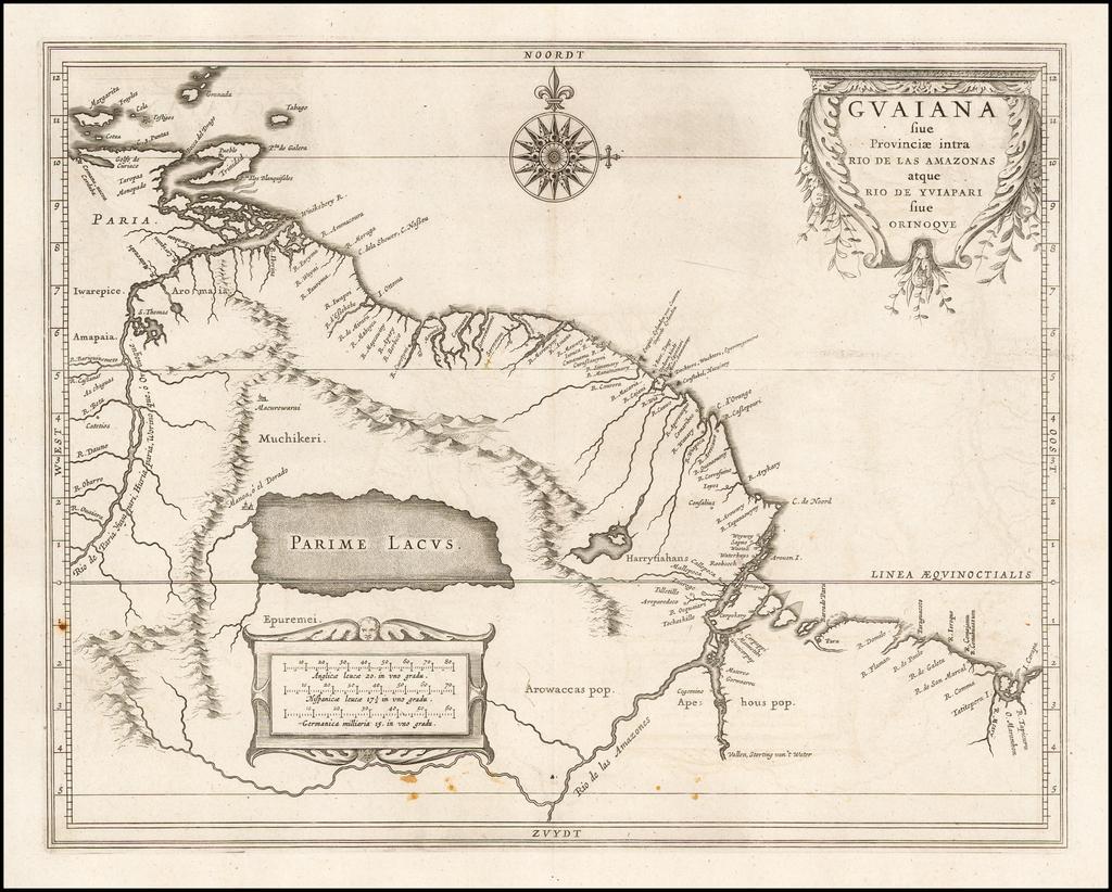 (Shows El Dorado)  Guaiana sive Provincae intra Rio De Las Amazonas atque Rio de Yviapari sive Orinoque By Joannes De Laet