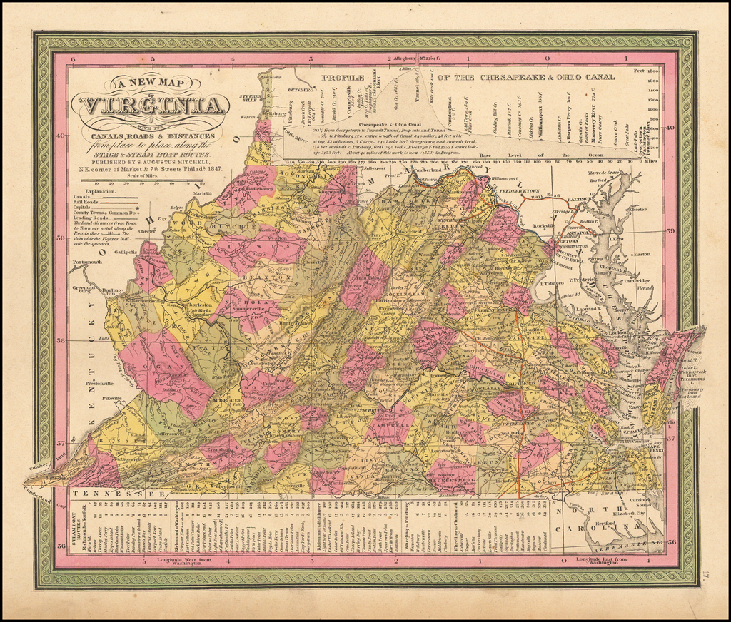 A New Map of Virginia with its Canals, Roads & Distances from place to place, along the Stage & Steam Boat Routes. By Samuel Augustus Mitchell