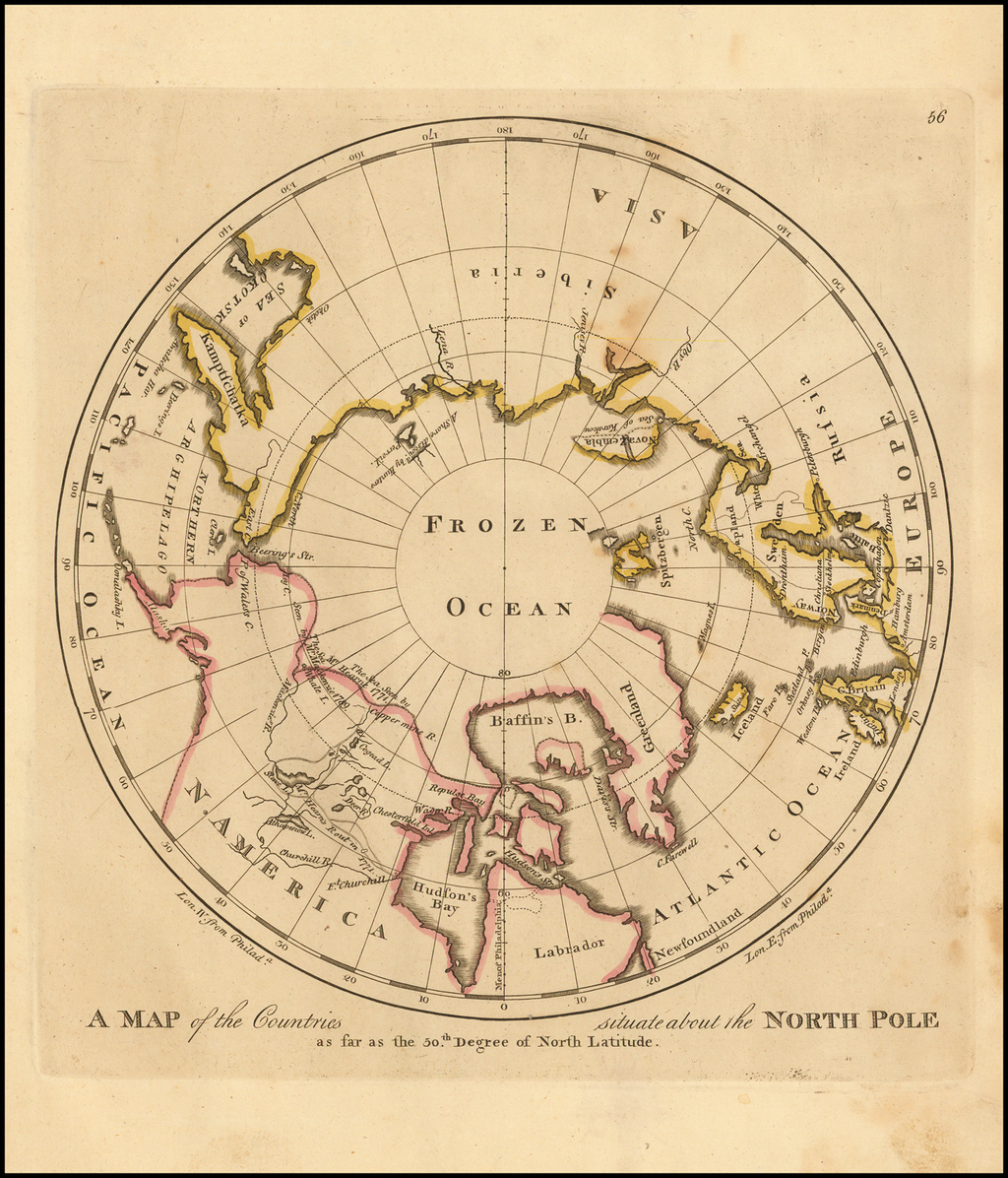 A Map of the Countries situate about the North Pole as far as the 50th Degree of North Latitude By Matthew Carey