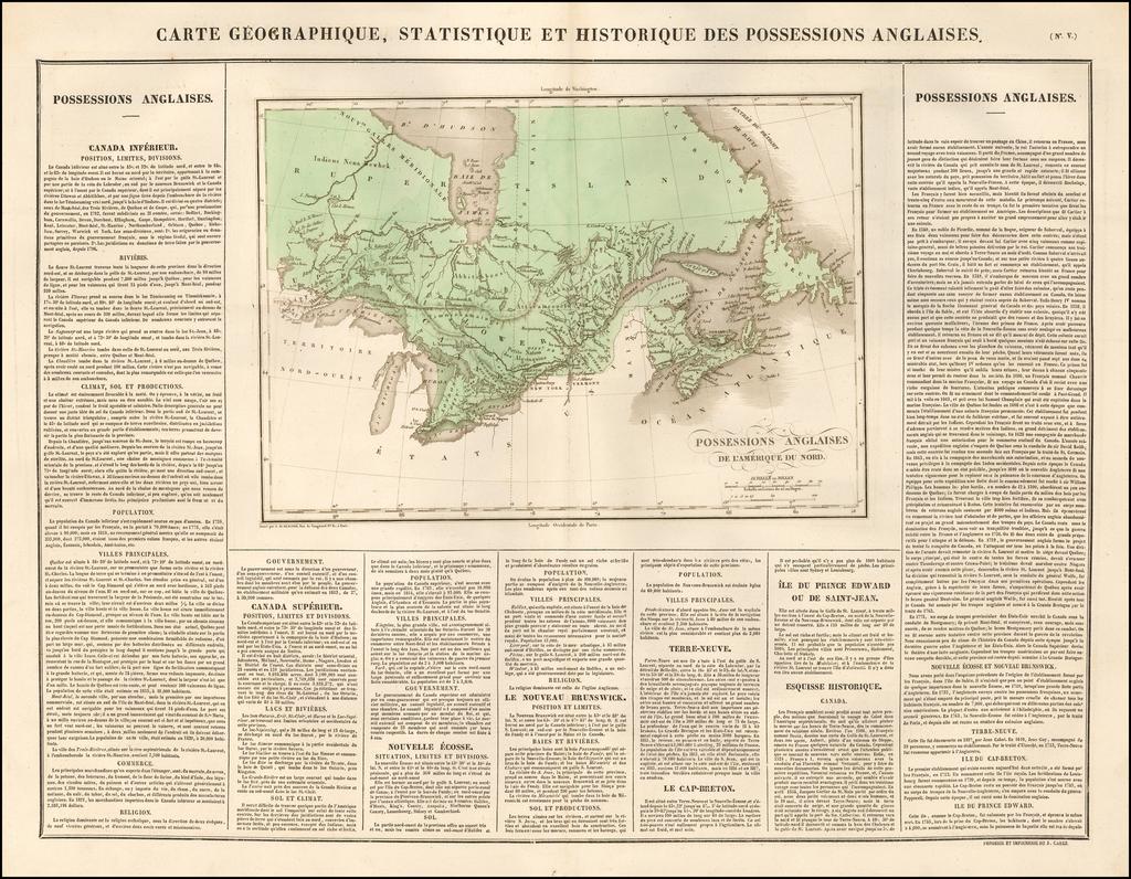 Carte Geographique, Statistique et Historique Des Possessions Anglaises By Jean Alexandre Buchon