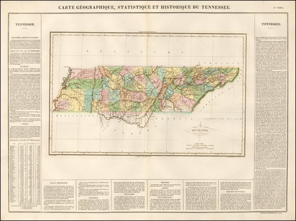 Carte Geographique, Statistique Et Historique Du Tennessee By Jean Alexandre Buchon