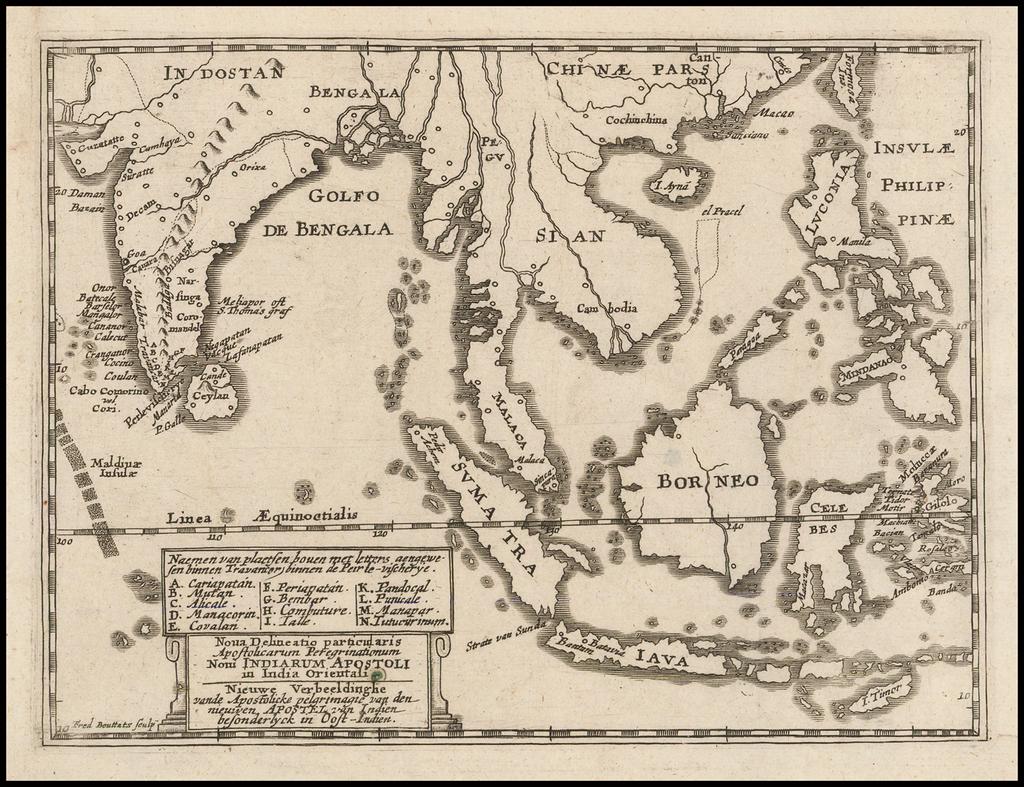 [Southeast Asia, Philippines & India] Nova Delineatio particularis Apostolicarum Peregrinationum noni Indiarum Apostoli in India Orientali By Frederik Bouttats