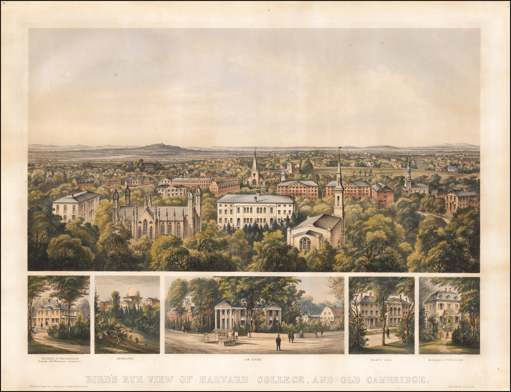 Bird's Eye View of Harvard College, And Old Cambridge By Julius Hermann Kummer