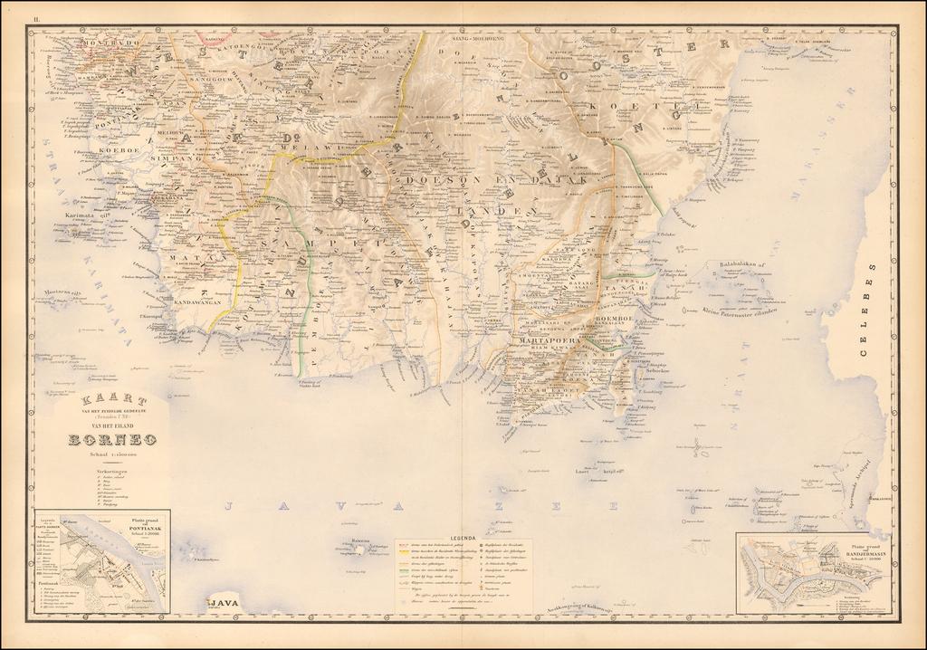 (Borneo) Kaart Van het Noordelijk Gedeelte (benoorden 1 N.B.) Van Het Eiland Borneo  By J.W. Stemfoort