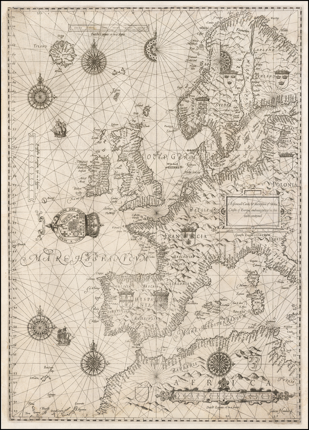 A Generall Carde, & discription of the Sea Coastes of Europa, and navigation in this booke conteyned By Lucas Janszoon Waghenaer