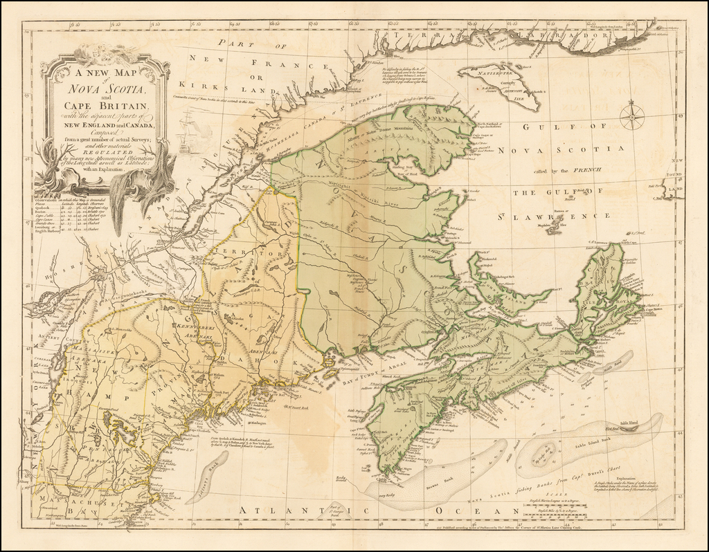 A New Map of Nova Scotia and Cape Britain, with the adjacent parts of New England and Canada, Composed from a great number of actual Surveys . . .  By Thomas Jefferys