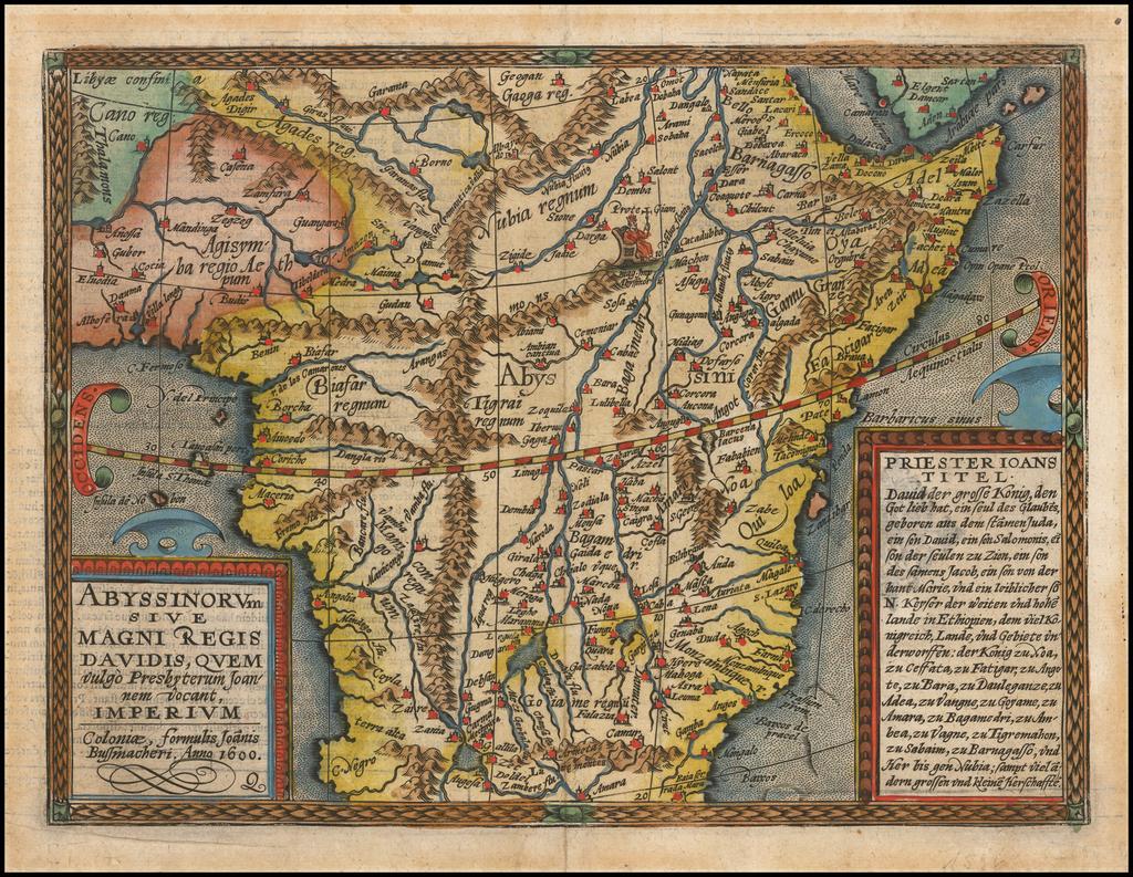 Abyssinorum Sive Magni Regis Davidis Quem vulgo Presgyterum Joannem voant Imperium . . . 1600 By Matthias Quad / Johann Bussemachaer