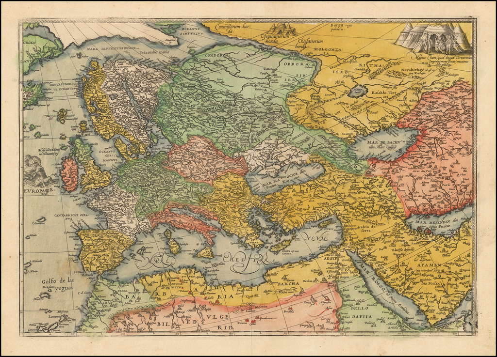 Europae (with Ottoman and Persian Empires -- Section From Unknown Wall Map?) By Frans Hogenberg