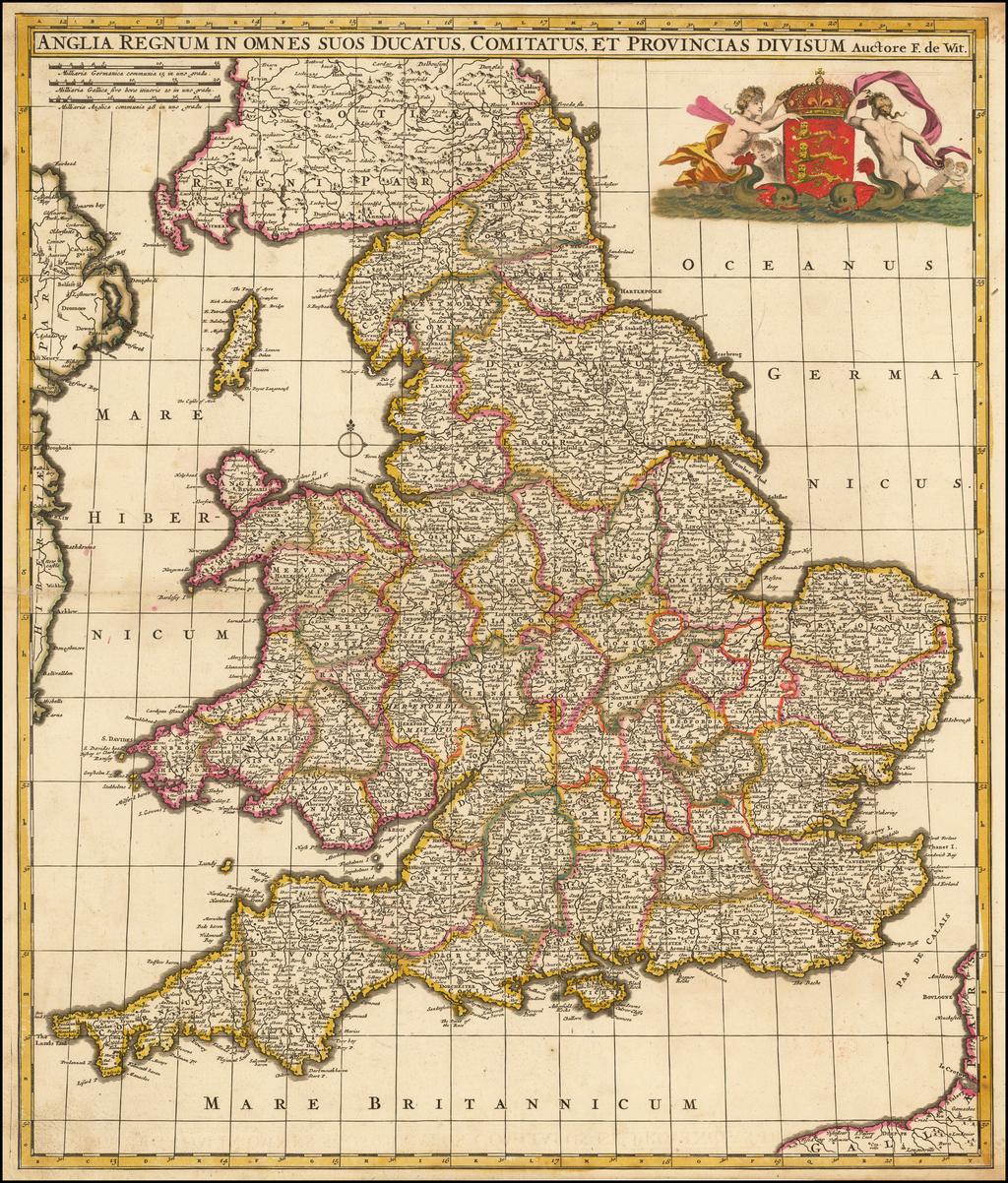 Anglia Regnum In Omnes Suos Ducatus, Comitatus, et Provincias Divisum   By Frederick De Wit
