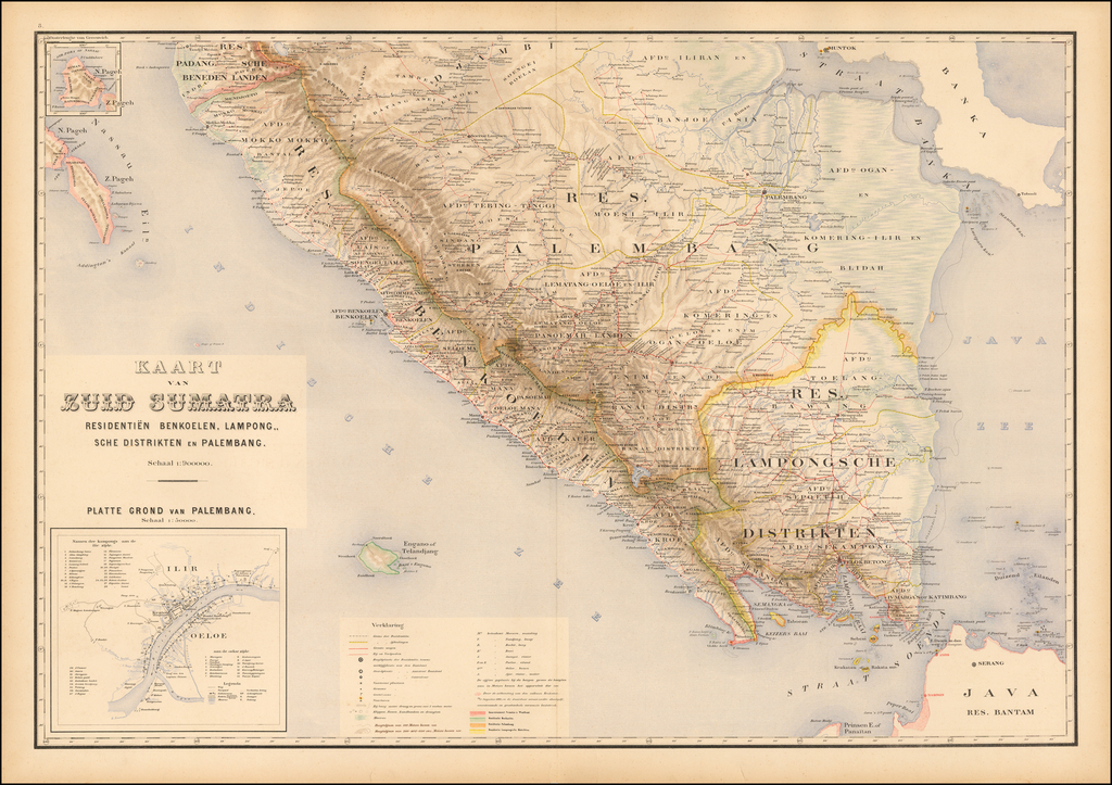 [Sumatra] Kaart van Zuid Sumatra Residentien Benkoelen, Lampongsche Distrikten en Palembang. By J.W. Stemfoort