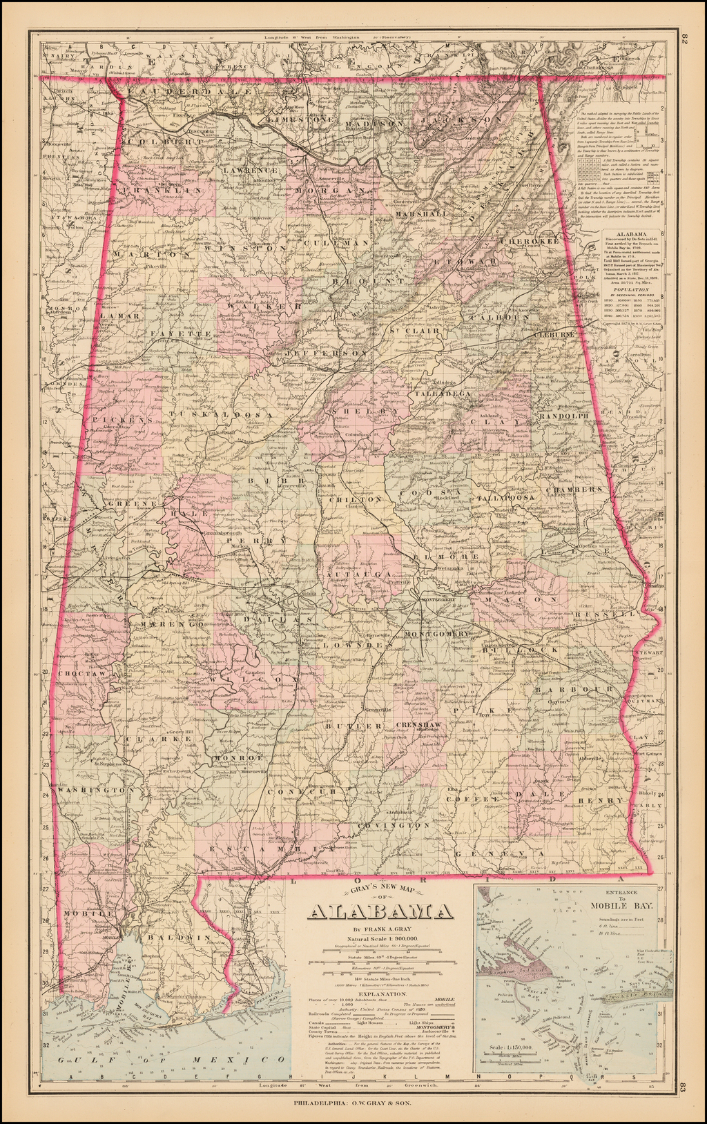 Gray's New Map of Alabama By O.W. Gray