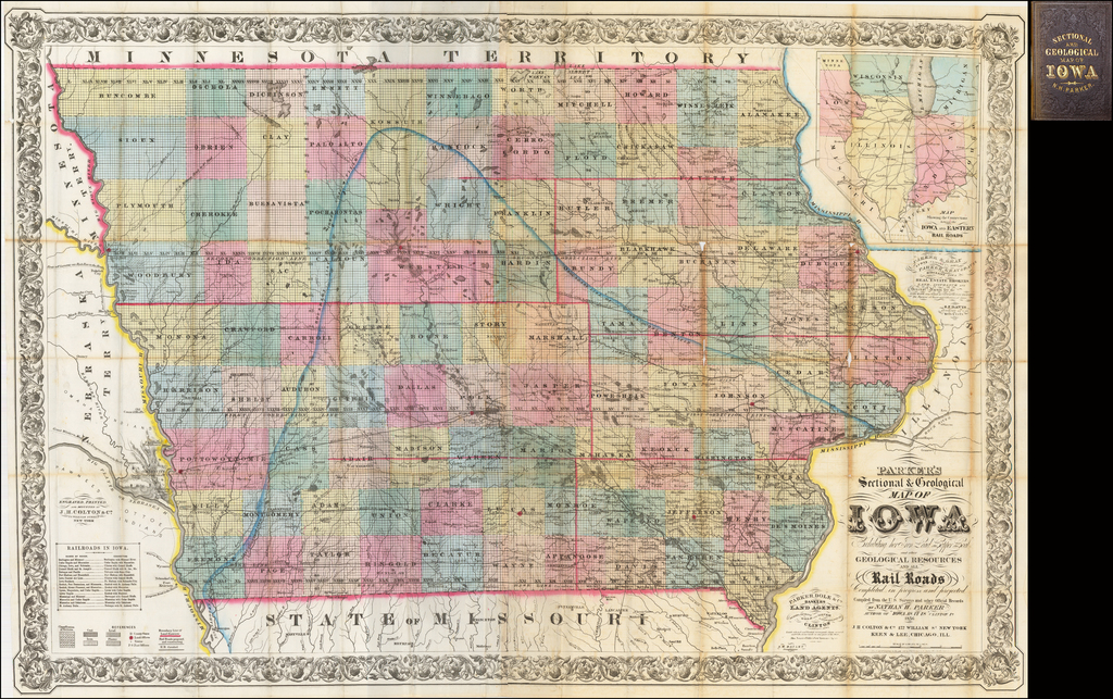 Parker's Sectional & Geological Map of Iowa  Exhibiting her Iron Lead Copper Coal and other Geological Resources and all Rail Roads Completed in progress and projected . . . 1856 By Nathan Parker