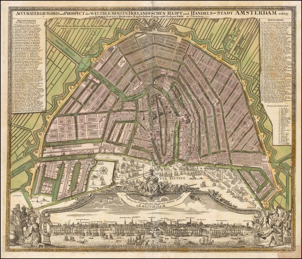 Accurater Grundris und Prospect der Weltberuhmten Hollandischen Haupt und Handels-Stadt Amsterderdam . . . 1727 By Johann Baptist Homann