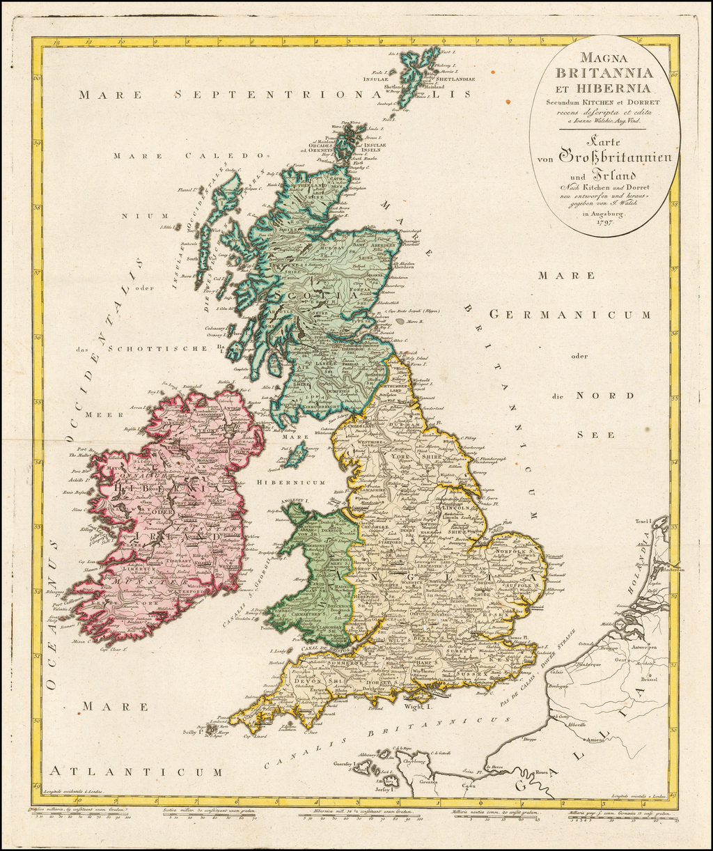 Magna Britannia Et Hibernia Secundum Kitchen et Dorrest . . . 1797 By Johann Walch