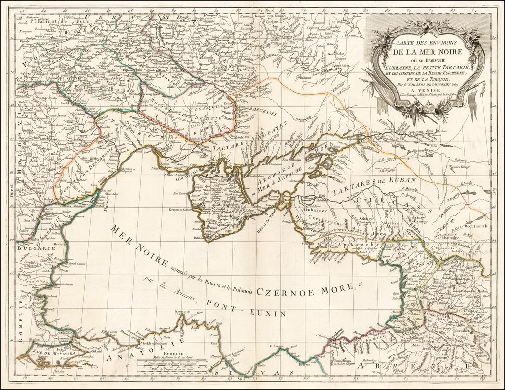 Carte Des Environs De La Mer Noire ou se Troubent l'Ukrayne, La Petite Tartarie, et Les Confins de la Russie Europeene, et de L Turquie . . . . By Paolo Santini