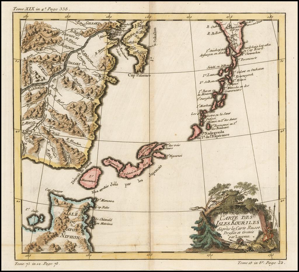 Carte Des Isles Kouriles d'apres la Carte Russe . . . par Laurent By Jacques Nicolas Bellin