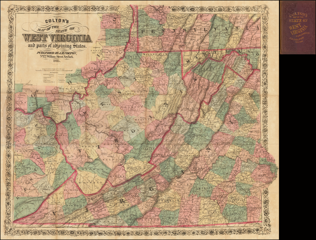 Colton's Map of the State of West Virginia and parts of adjoining States. . . 1865 By Joseph Hutchins Colton