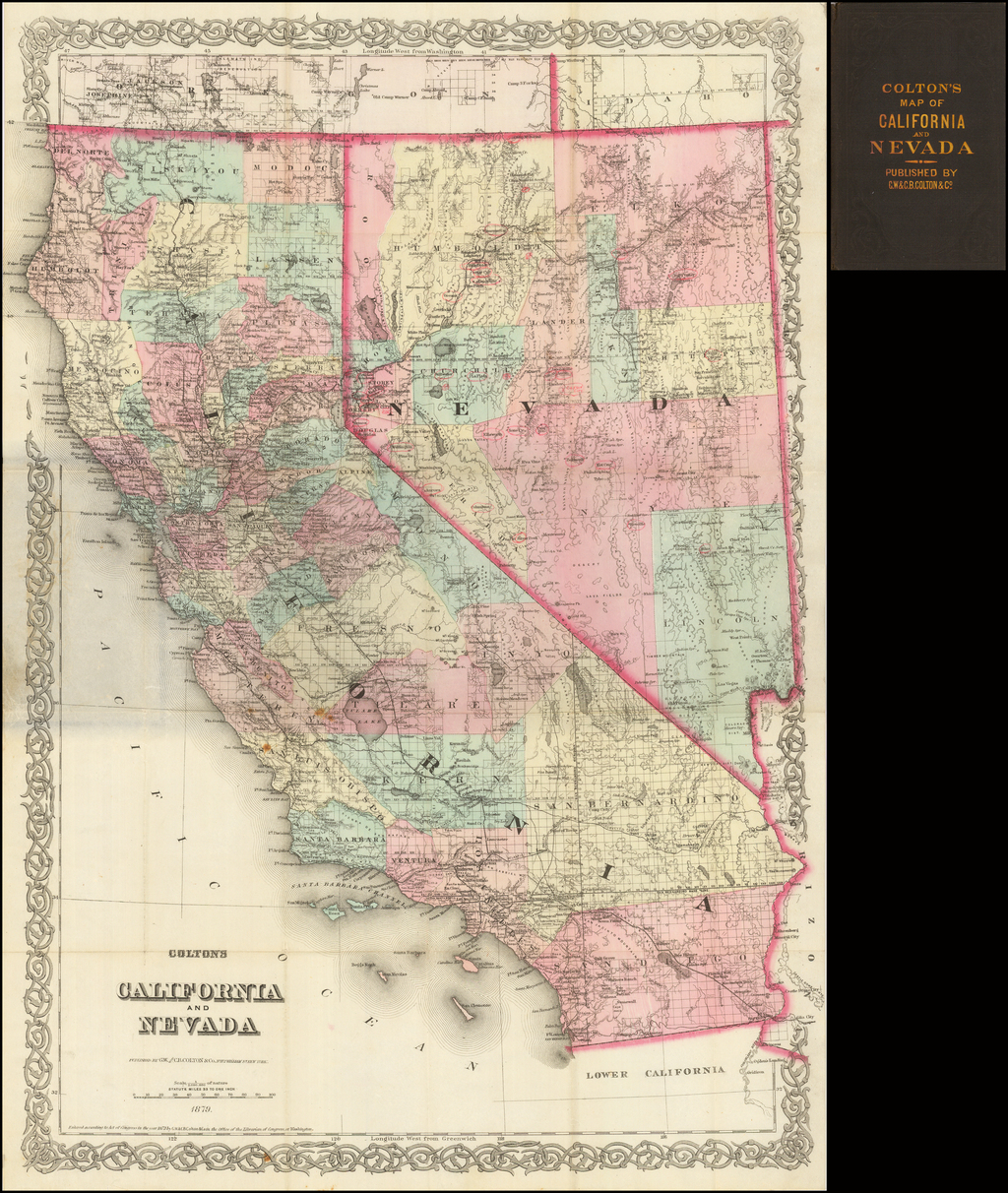 Colton's California and Nevada  1879 (Pocket Map) By G.W.  & C.B. Colton