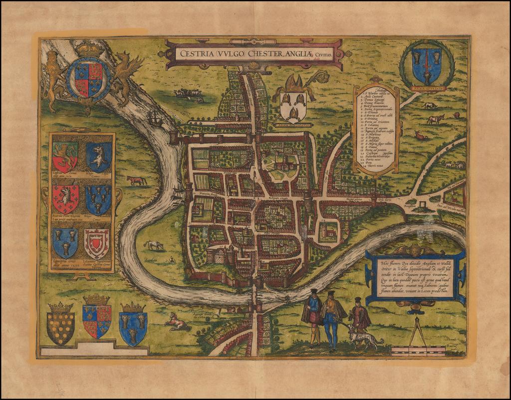 Cestria Vulgo Chester, Angliae Civitas By Georg Braun  &  Frans Hogenberg