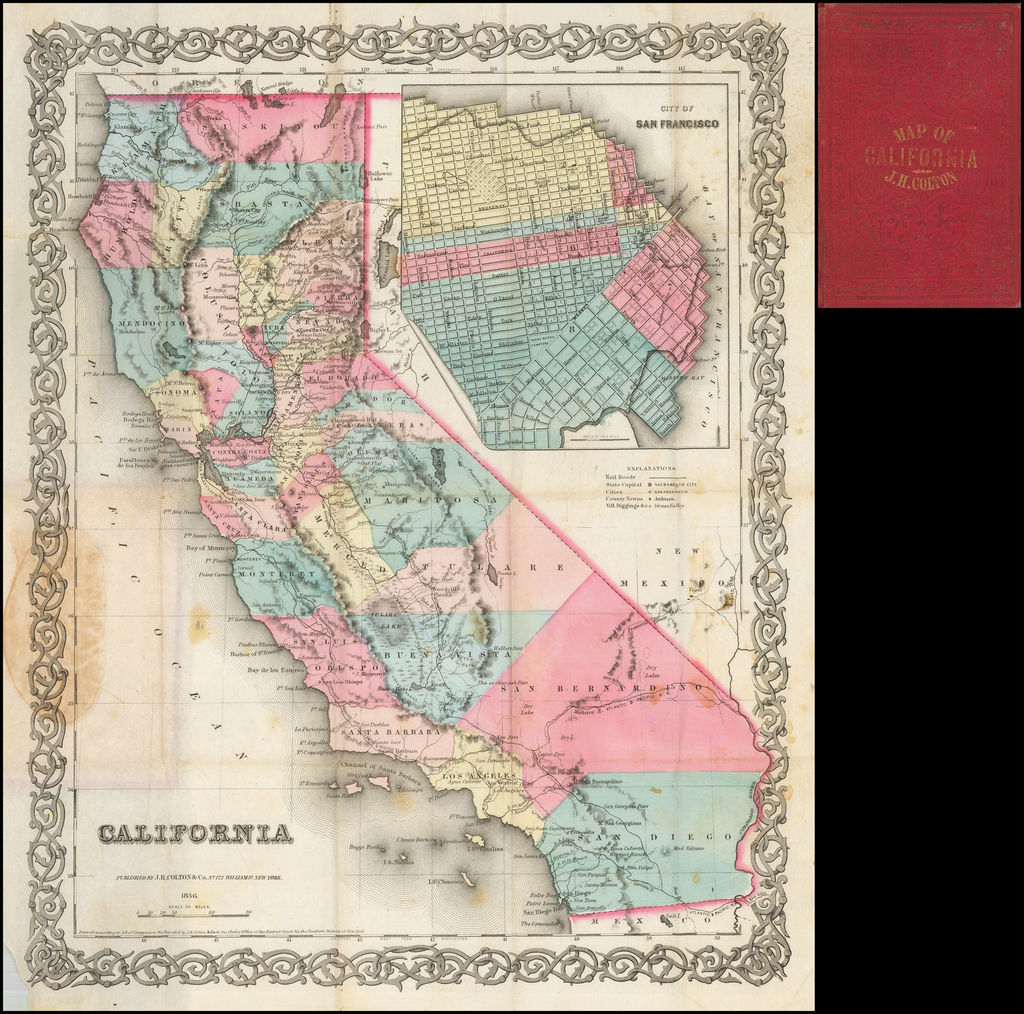 California (Rare Pocket Map Edition) By Joseph Hutchins Colton