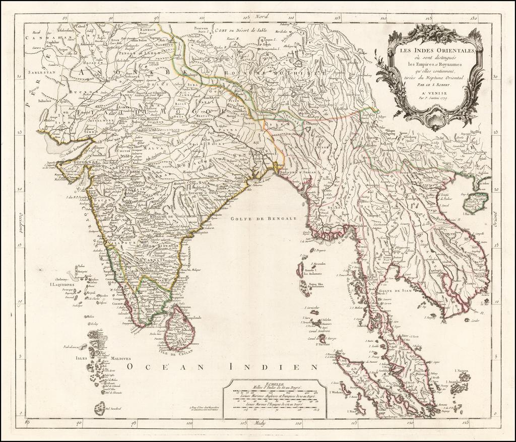 Les Indes Orientales, ou sont distingues les Empires et Royaumes qu'elles contiennent, tirees du Neptune Oriental . . . 1779  By Paolo Santini