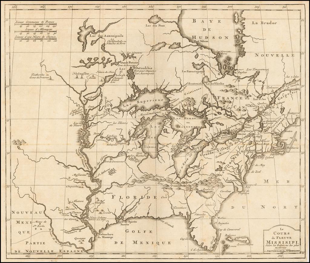 Le Cours du Fleuve Missisipi, selon les Relations les plus moderns.  A Amsterdam chez J.F. Bernard . . . 1737 By J.F. Bernard