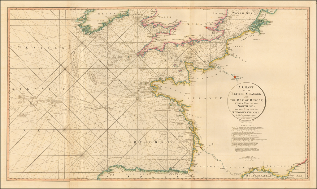 A Chart of the British Channel And The Bay of Biscay, with a Part of the North Sea, and the Entrance of St. George's Channel . . . MCCXCIV By William Faden