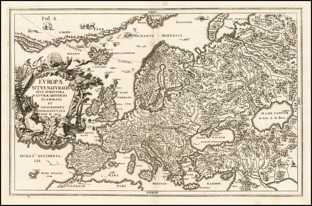 Europae Situs Naturalis Sive Structura Naturae Artificio Elaborata et Geographice Repraesentata Anno M DCC By Heinrich Scherer